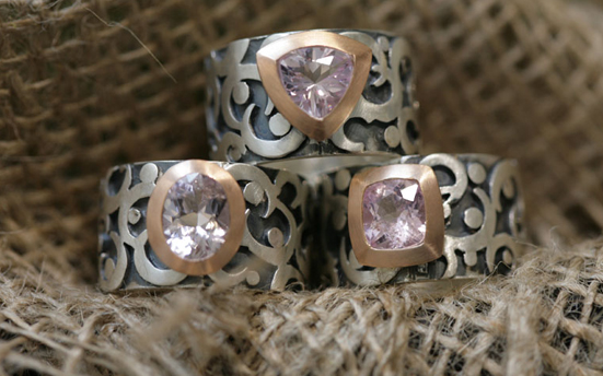 silver rings with morganite