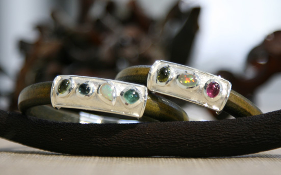 tourmaline & leather bracelet