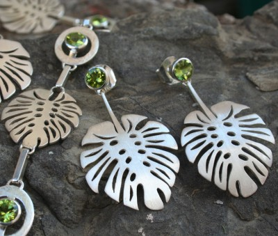 peridot, exotic leave earrings, contemporary design