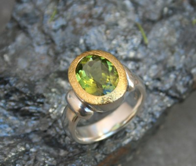 large peridot set in gold
