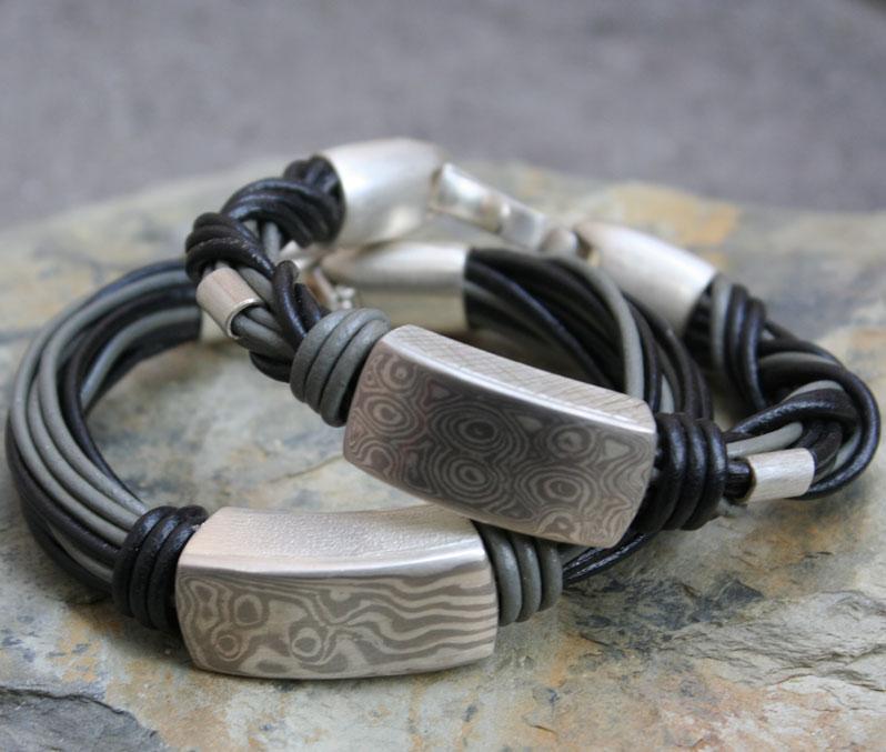 molume-gane-silver-and-paladium-leather-bracelets
