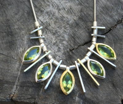 peridot necklace, marquise shape gems